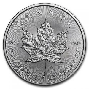 1 ounce Silver Maple Leaf silver coin Royal Canadian Mint