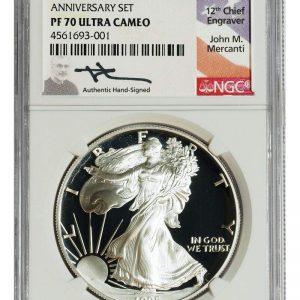 1995 P John Mercanti Signed American Silver Eagle $1 PF70 NGC