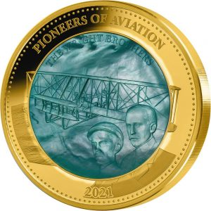 2021 SB Mother Of Pearl PowerCoin PIONEERS OF AVIATION 5 Oz Gold Coin 100$ Solomon Islands 2021 Proof
